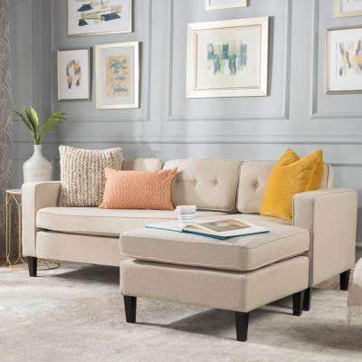 2-Piece Cream Fabric Sectional