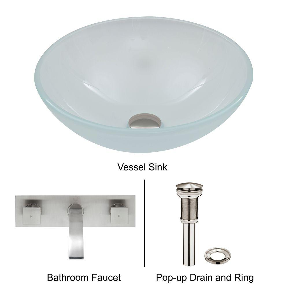 VIGO Vessel Sink in White Frost with Wall-Mount Faucet Set in Brushed Nickel