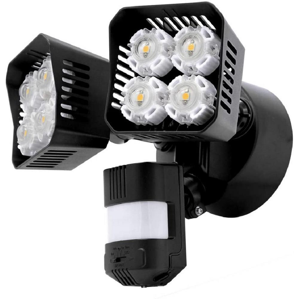 36-Watt 3600 Lumens 180-Degree Black Motion Sensor Outdoor Integrated LED 5000K Waterproof Dusk to Dawn Flood Light