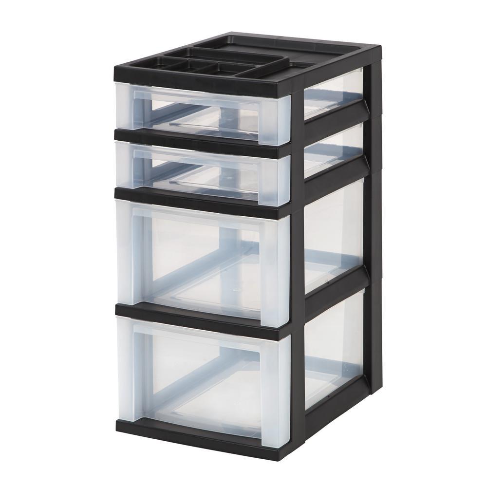 12.05 in. x 24.5 in. Black 3-Drawer Storage Cart with Organizer Top