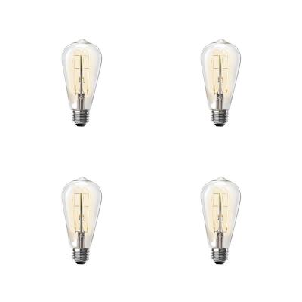 40-Watt Equivalent ST19 Clear Glass Vintage Edison LED Light Bulb with M Shape Filament Warm White (4-Pack)