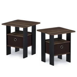 Andrey 17.5 in. Columbia Walnut End Table Nightstand with Bin Drawer (Set of 2)