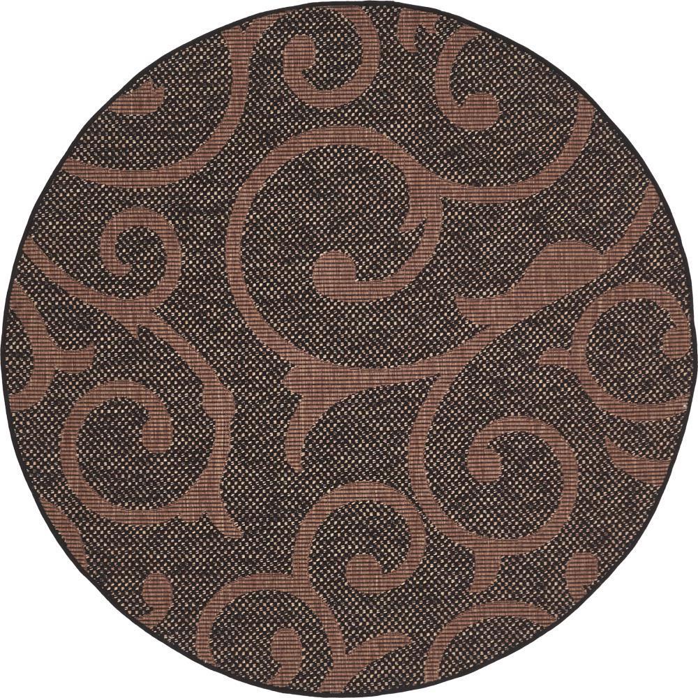 Outdoor Vine Chocolate Brown 6' 0 x 6' 0 Round Rug