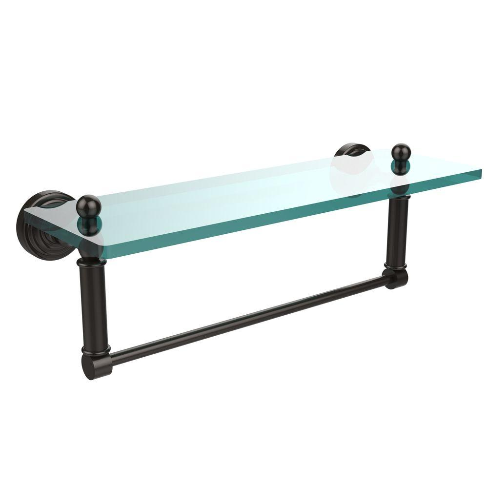Allied Br Waverly Place 16 In L X 5 H W Clear Gl Bathroom Shelf With Towel Bar Oil Rubbed Bronze