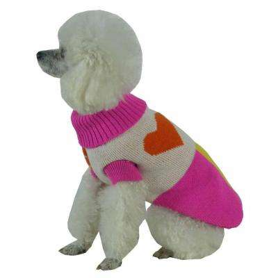 Small Pink and Orange and White and Yellow Lovable-Bark Heavy Knit Ribbed Fashion Dog Sweater