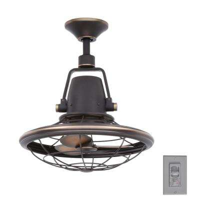 Indoor/Outdoor Tarnished Bronze Oscillating Ceiling Fan With Wall Control  ...