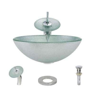Glass Vessel Sink in Sparkling Silver with Waterfall Faucet and Pop-Up Drain in Chrome
