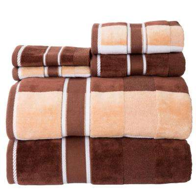 100% Cotton Oakville Velour Towel Set in Chocolate (6-Piece)