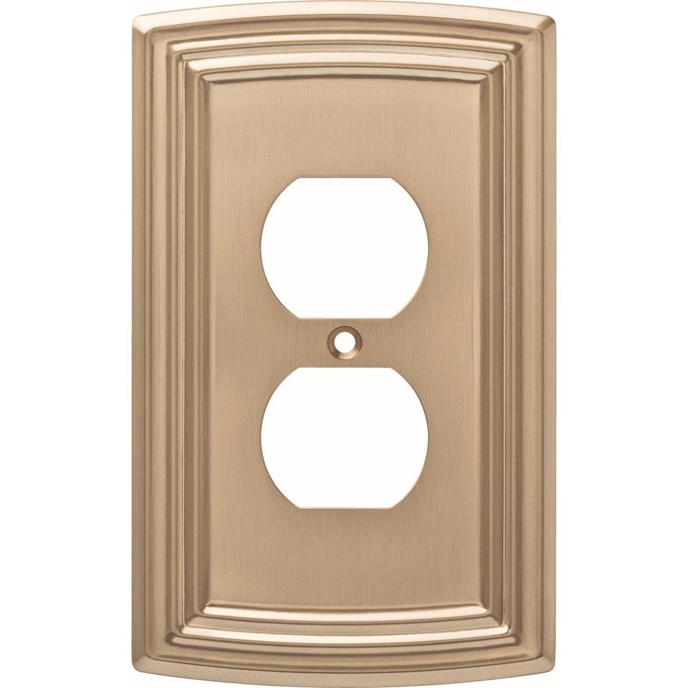 Liberty Liberty Emery Decorative Single Duplex Outlet Cover, Champagne Bronze