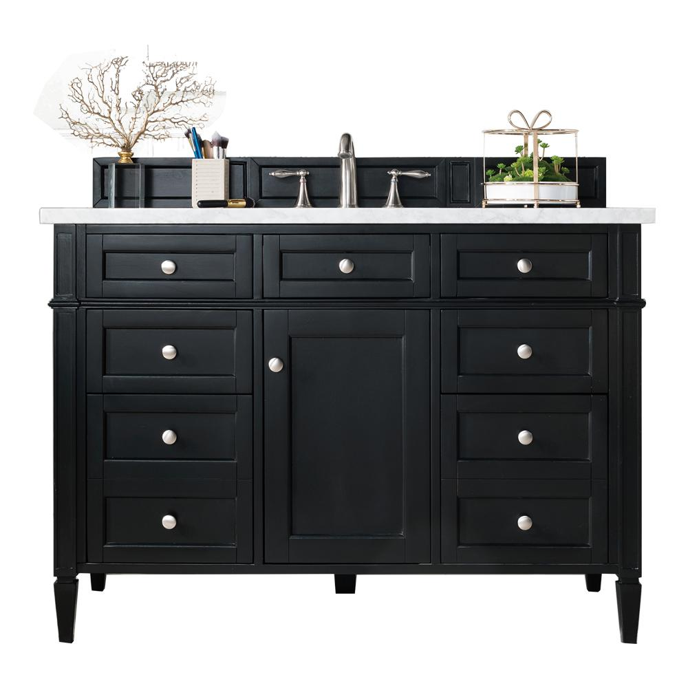 James Martin Vanities Brittany 48 in. W Single Vanity in Black Onyx with Marble Vanity Top in Carrara White with White Basin