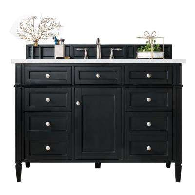 Brittany 48 in. W Single Vanity in Black Onyx with Marble Vanity Top in Carrara White with White Basin