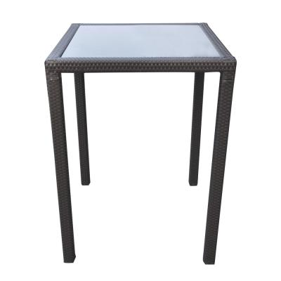 Tropez Black Wicker Bar Height Outdoor Dining Table
