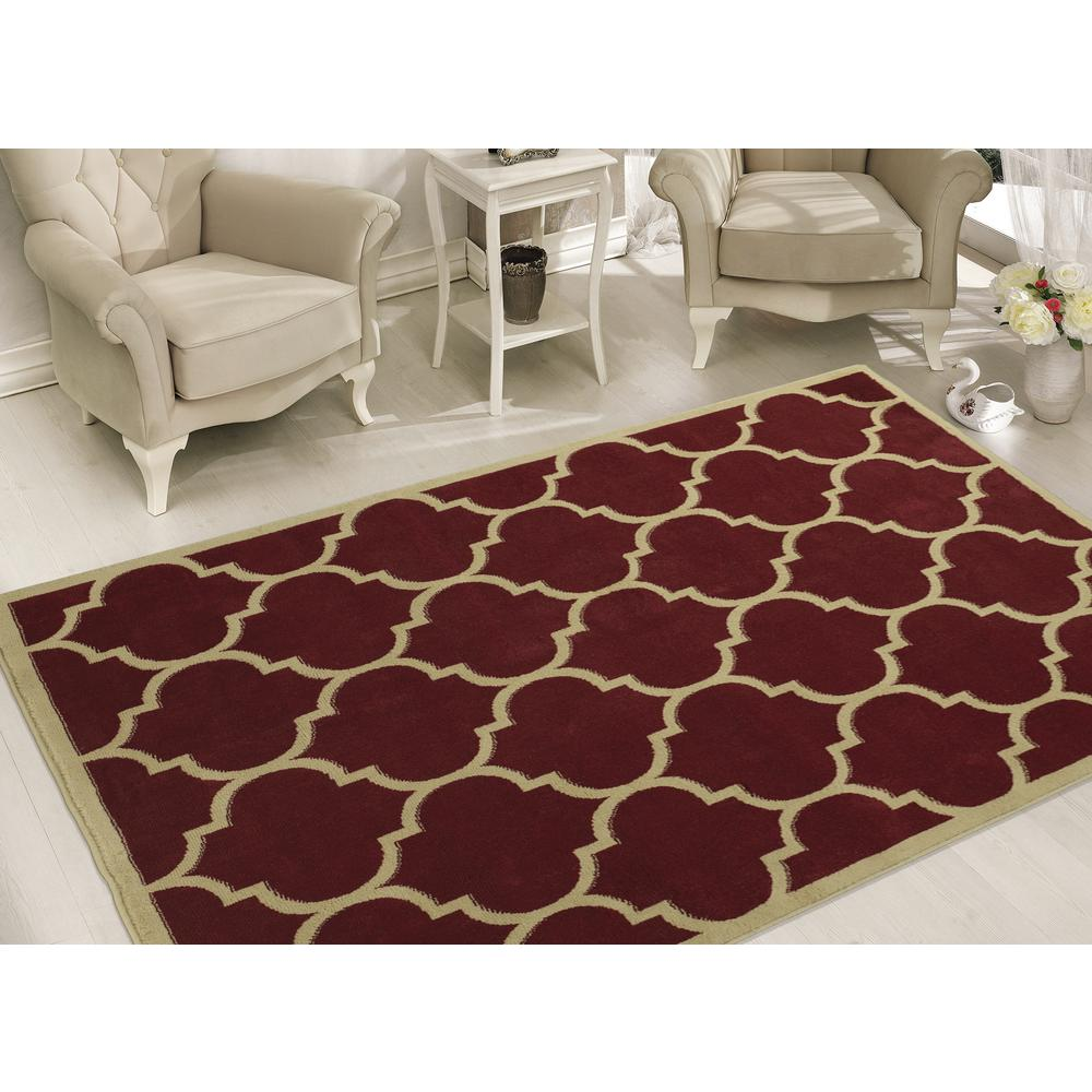Sweet Home Stores Clifton Collection Contemporary Moroccan Trellis Red 8 ft. x 10 ft. Indoor Area Rug