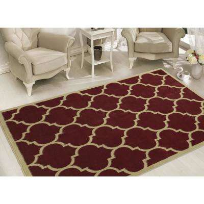 Clifton Collection Contemporary Moroccan Trellis Red 8 ft. x 10 ft. Indoor Area Rug
