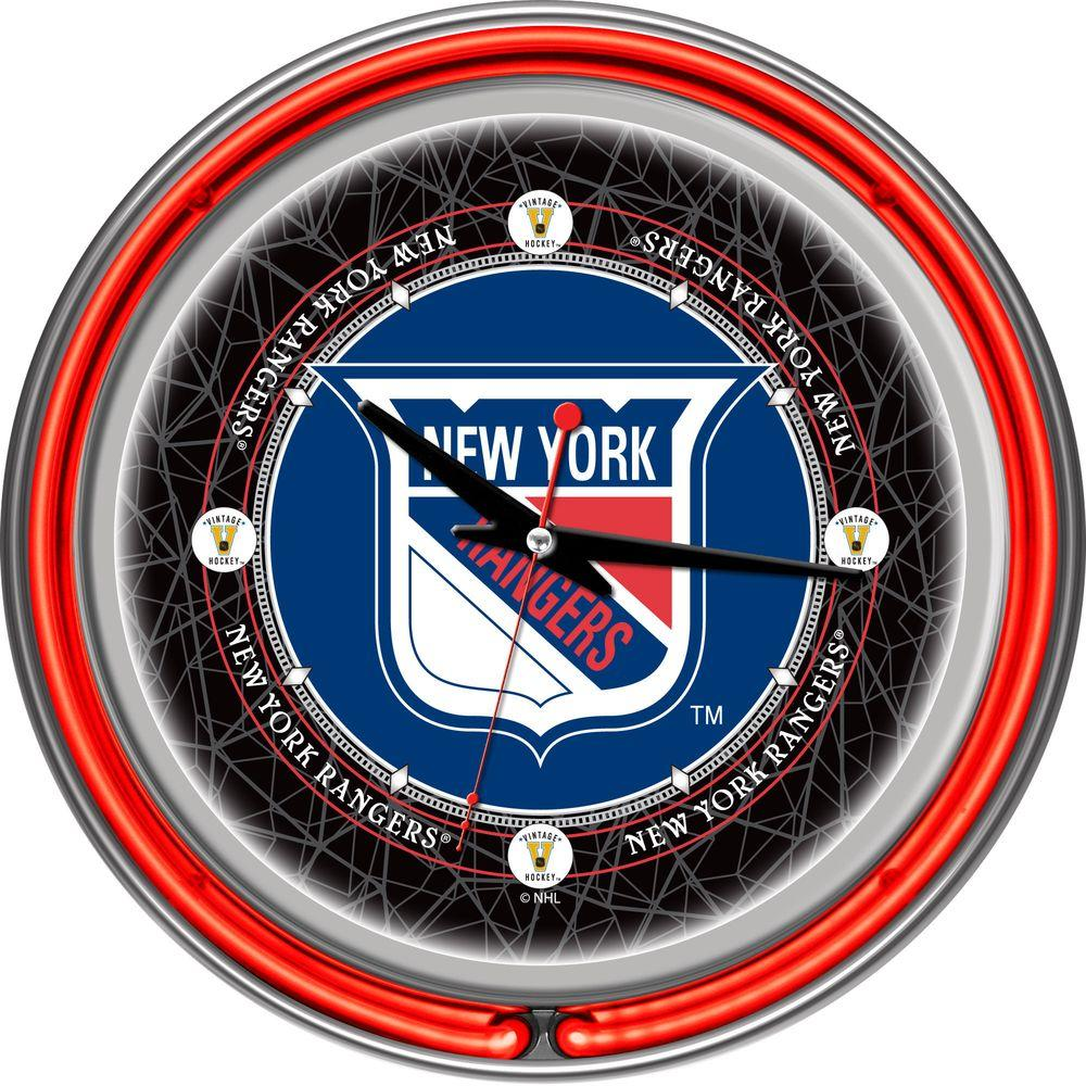 null 14 in. Vintage New York Rangers NHL Neon Wall Clock