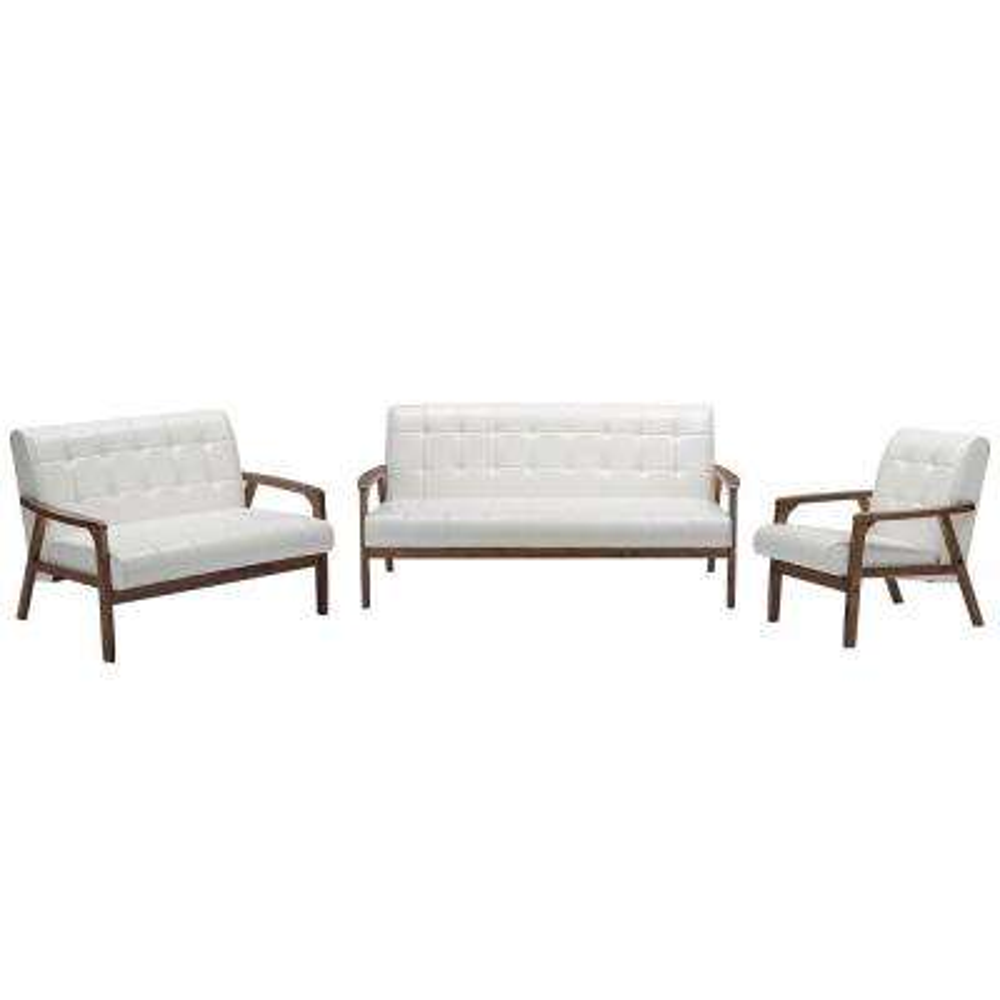 Masterpieces 3-Piece White Living Room Suite