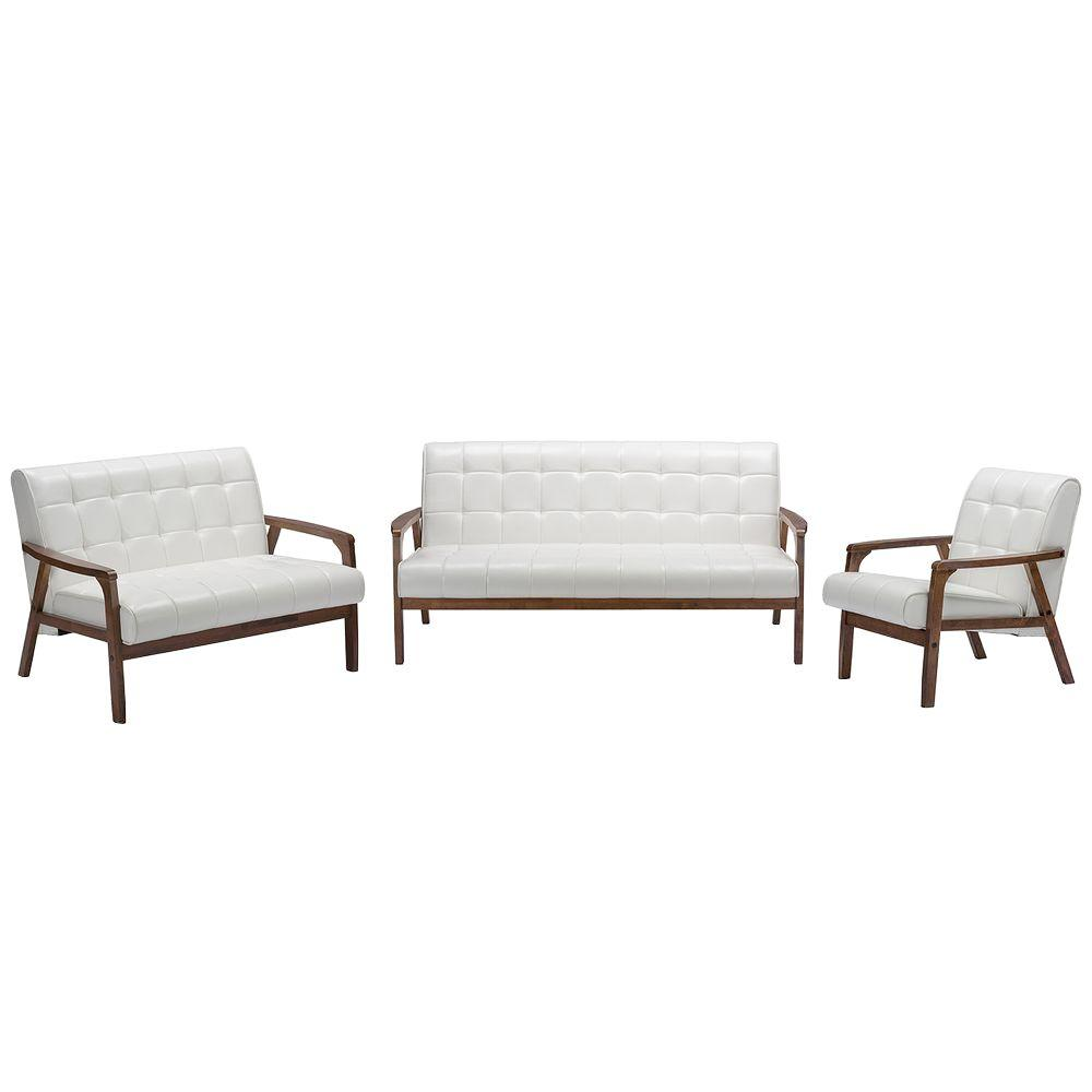 Baxton Studio Masterpieces 3-Piece White Living Room Suite