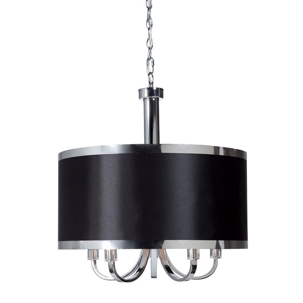 ARTCRAFT Madison 5-Light Chrome Chandelier Beautiful tuxedo black shade trimmed with chrome banding on a smooth chrome frame (5 lite chandelier)