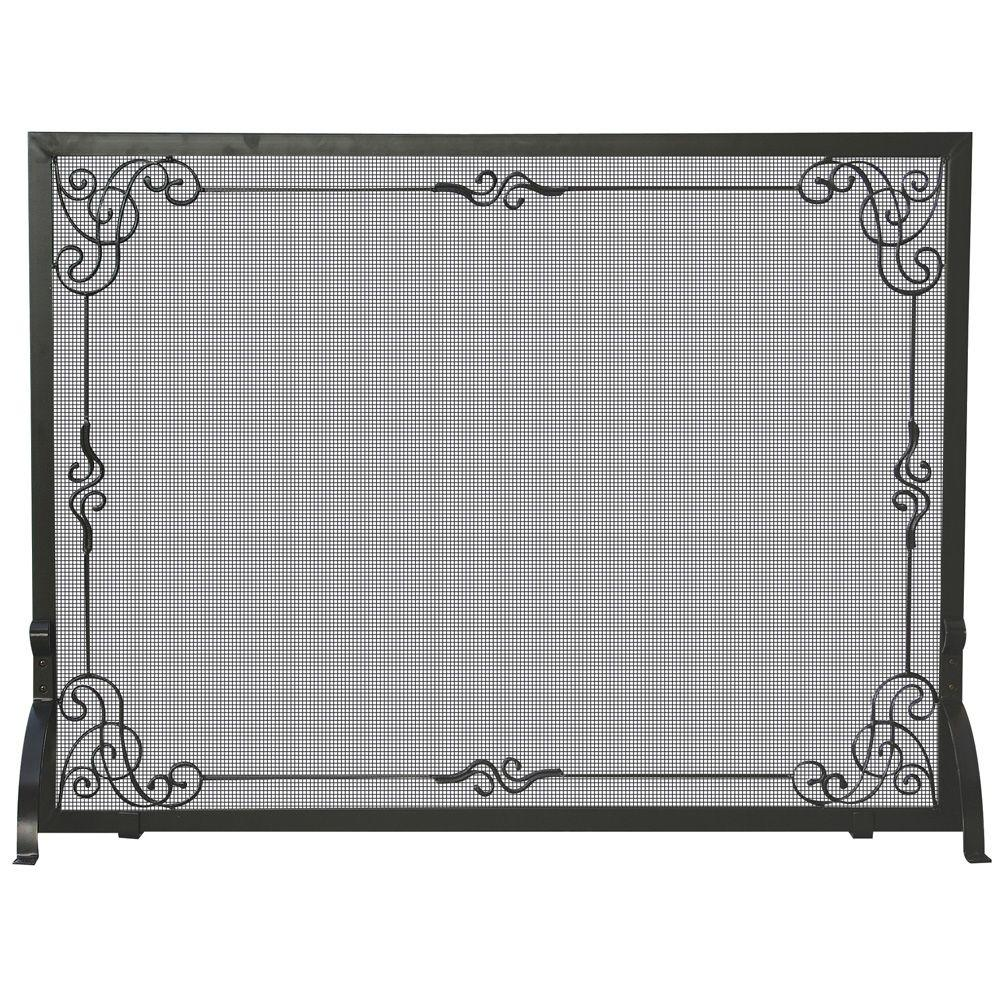 UniFlame Black Wrought Iron Single-Panel Fireplace Screen with Decorative Scroll