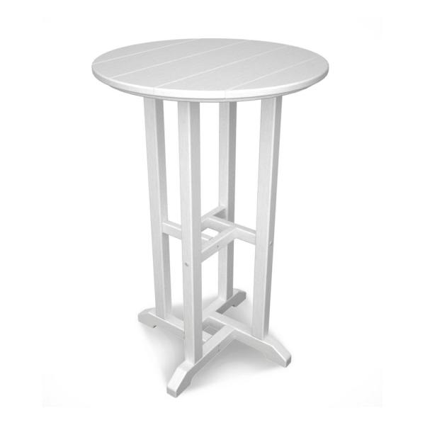Traditional White Outdoor Patio Bar Height Dining Table