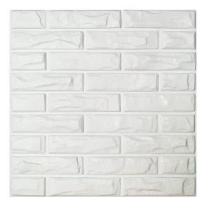 19.7 in. x 19.7 in. White PVC 3D Wall Panels Brick Wall Design (12-Pieces)