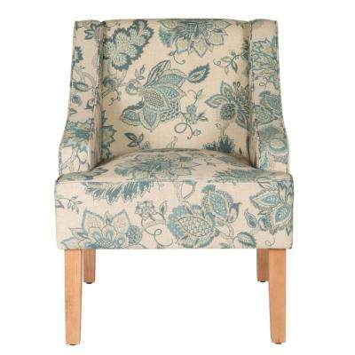 Blue Jacobean Printed on Tan Fabric Lexie Swoop Arm Accent Chair