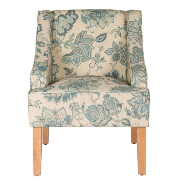 Homepop Blue Jacobean Printed on Tan Fabric Lexie Swoop Arm Accent