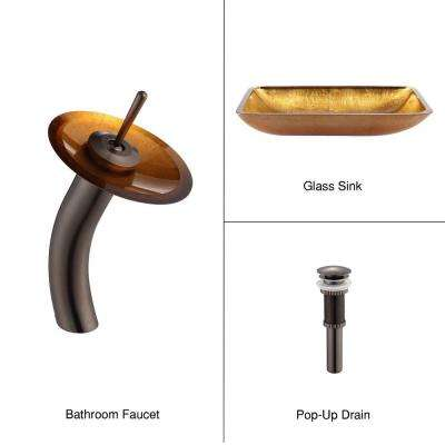 Rectangular Glass Vessel Sink in Gold with Waterfall Faucet in Oil Rubbed Bronze