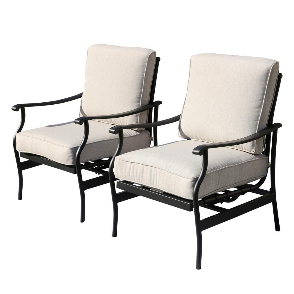 Metal Patio Chair Seat Replacement: Patio Festival Metal Outdoor Rocking Chair With Beige