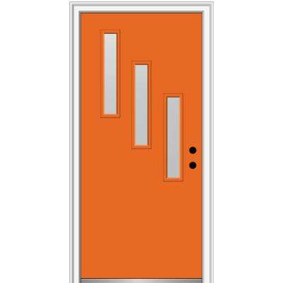 32 in. x 80 in. Davina Left-Hand Inswing 3-Lite Frosted Glass Painted Steel Prehung Front Door on 6-9/16 in. Frame