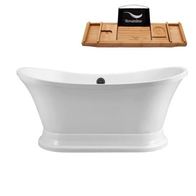 68 in. Acrylic Flat Bottom Non-Whirlpool Bathtub in White
