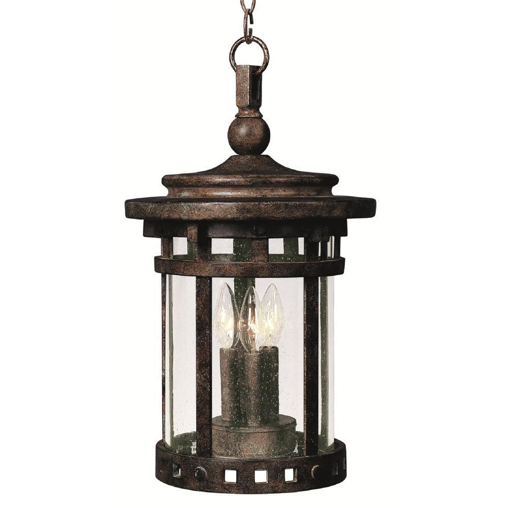 Santa Barbara Cast 3-Light Sienna Outdoor Hanging Lantern