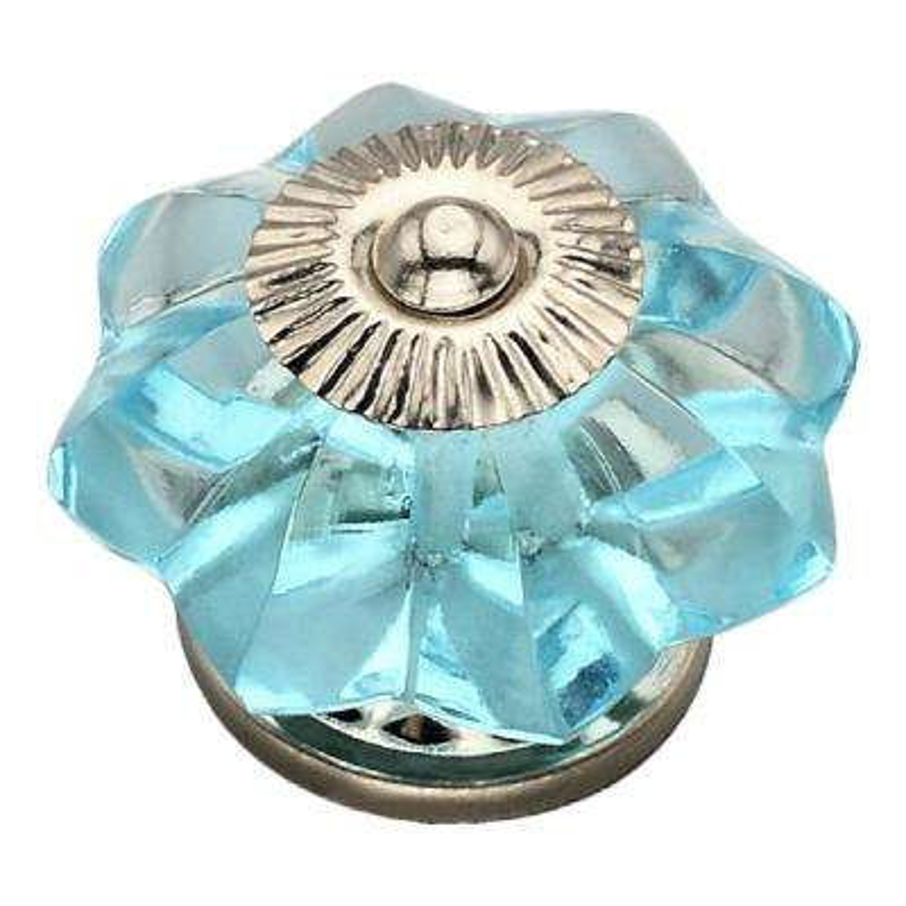 1-2/3 in. Sky Blue Flower Novelty Cabinet Knob