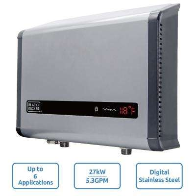 27 kW Self-Modulating 5.3 GPM Electric Tankless Water Heater, Multi-Application hot water heater electric