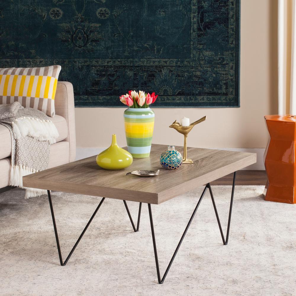 Amos Retro Mid Century Wood Light Gray Coffee Table