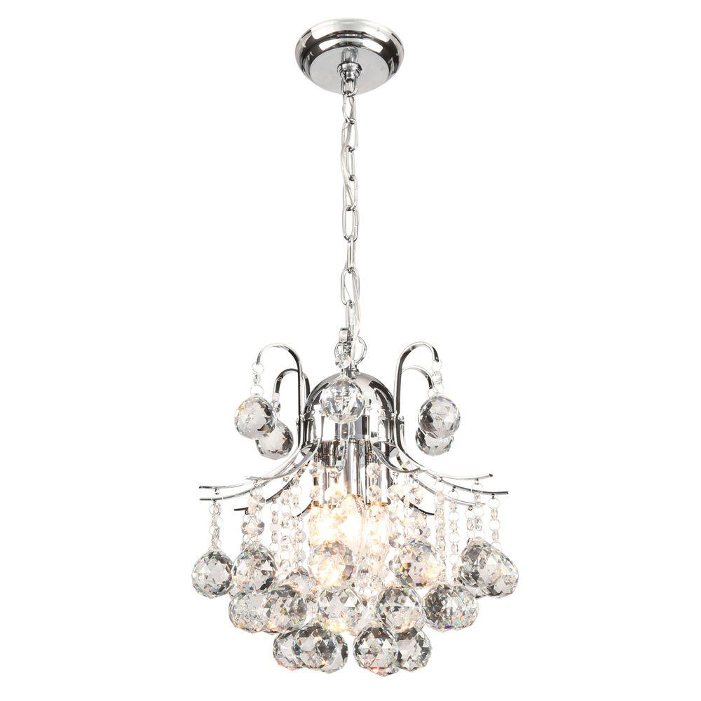 Warehouse of Tiffany Arden Victorian 3-Light Crystal Chrome Chandelier with Shade