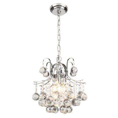 Arden Victorian 3-Light Crystal Chrome Chandelier with Shade