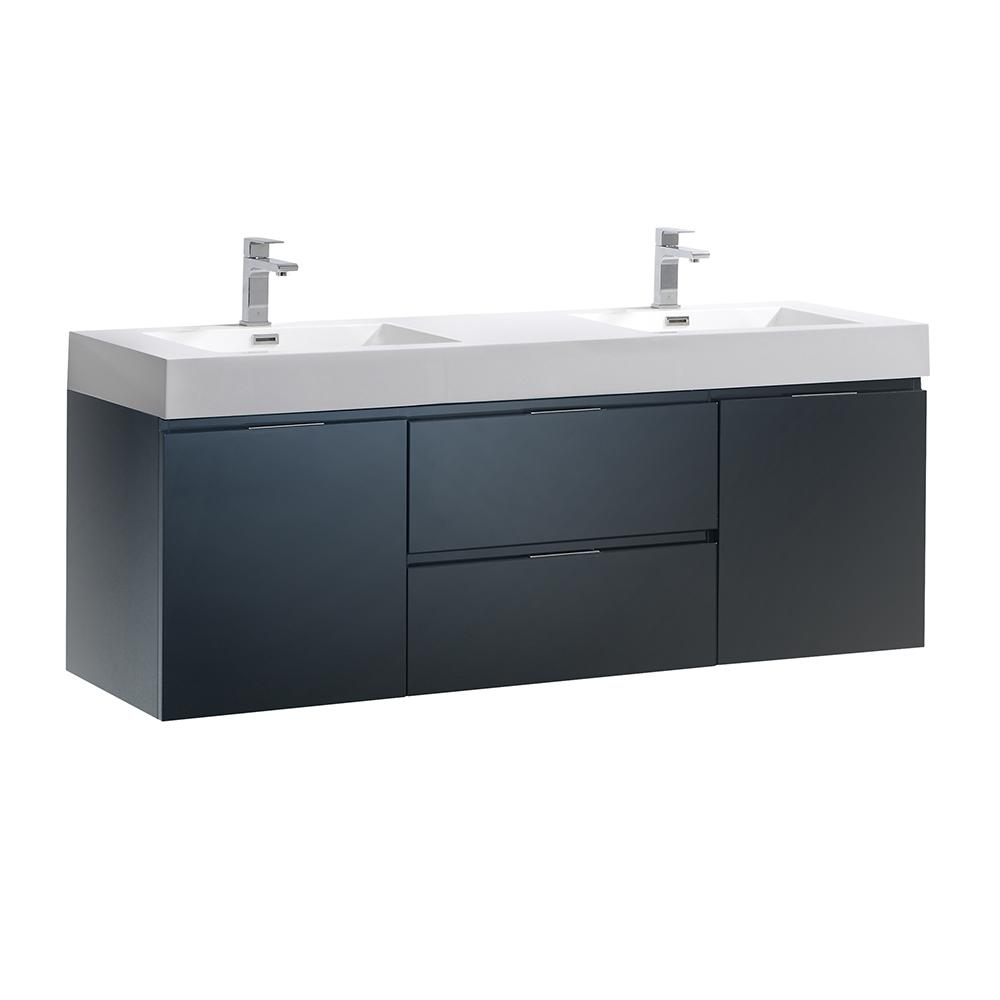 Fresca Valencia 60 in. W Wall Hung Bathroom Vanity in Dark Slate Gray with Acrylic Vanity Top in White