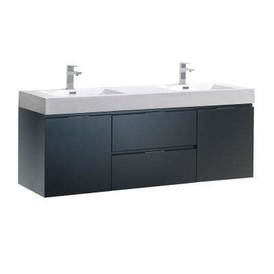 Valencia 60 in. W Wall Hung Bathroom Vanity in Dark Slate Gray with Acrylic Vanity Top in White