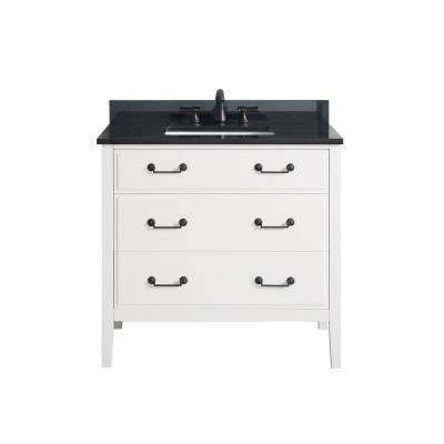 Delano 37 in. W x 22 in. D x 35 in. H Vanity in White with Granite Vanity Top in Black with White Basin