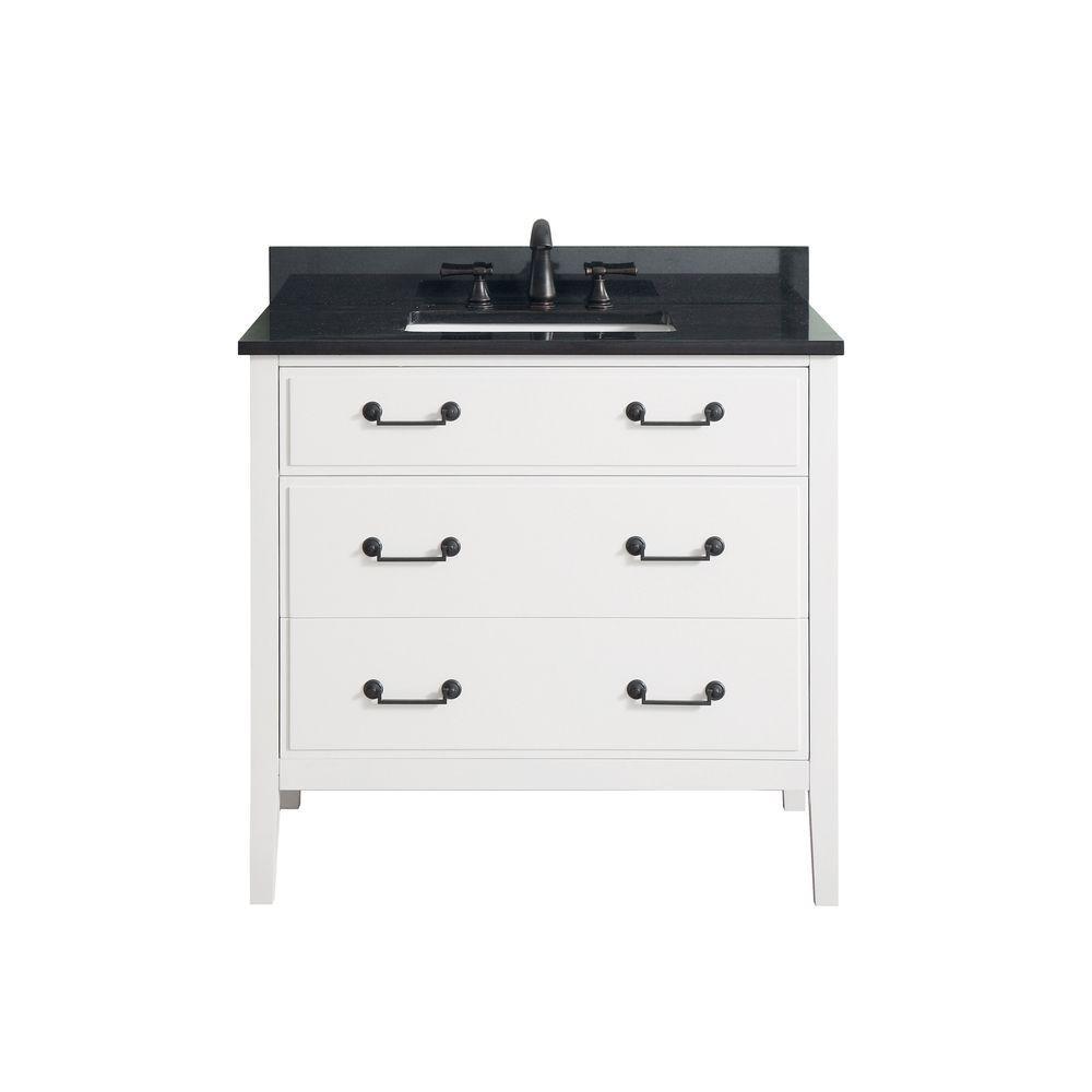 Delano 37 in. W x 22 in. D x 35 in. H Vanity in White with Granite Vanity Top in Black with White Basin