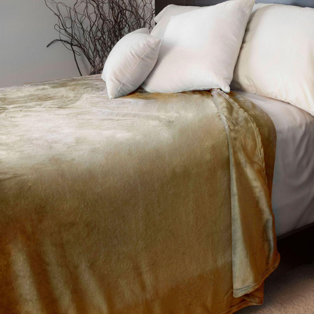 Lavish Home Brown Polyester Flannel Twin Blanket