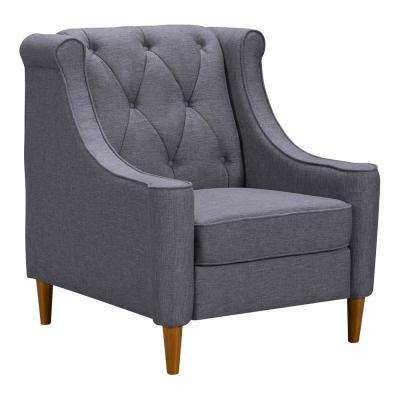 Luxe Dark Grey Fabric Sofa Chair