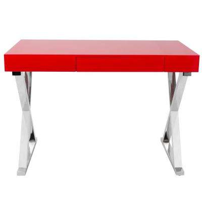 Luster Red and Chrome Office Desk