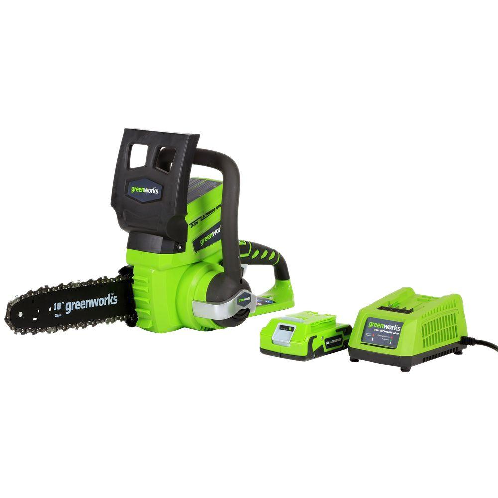 Earthwise 10 in 20 volt lithium ion cordless chainsaw lcs32010 24 volt cordless chainsaw battery and charger included greentooth Gallery
