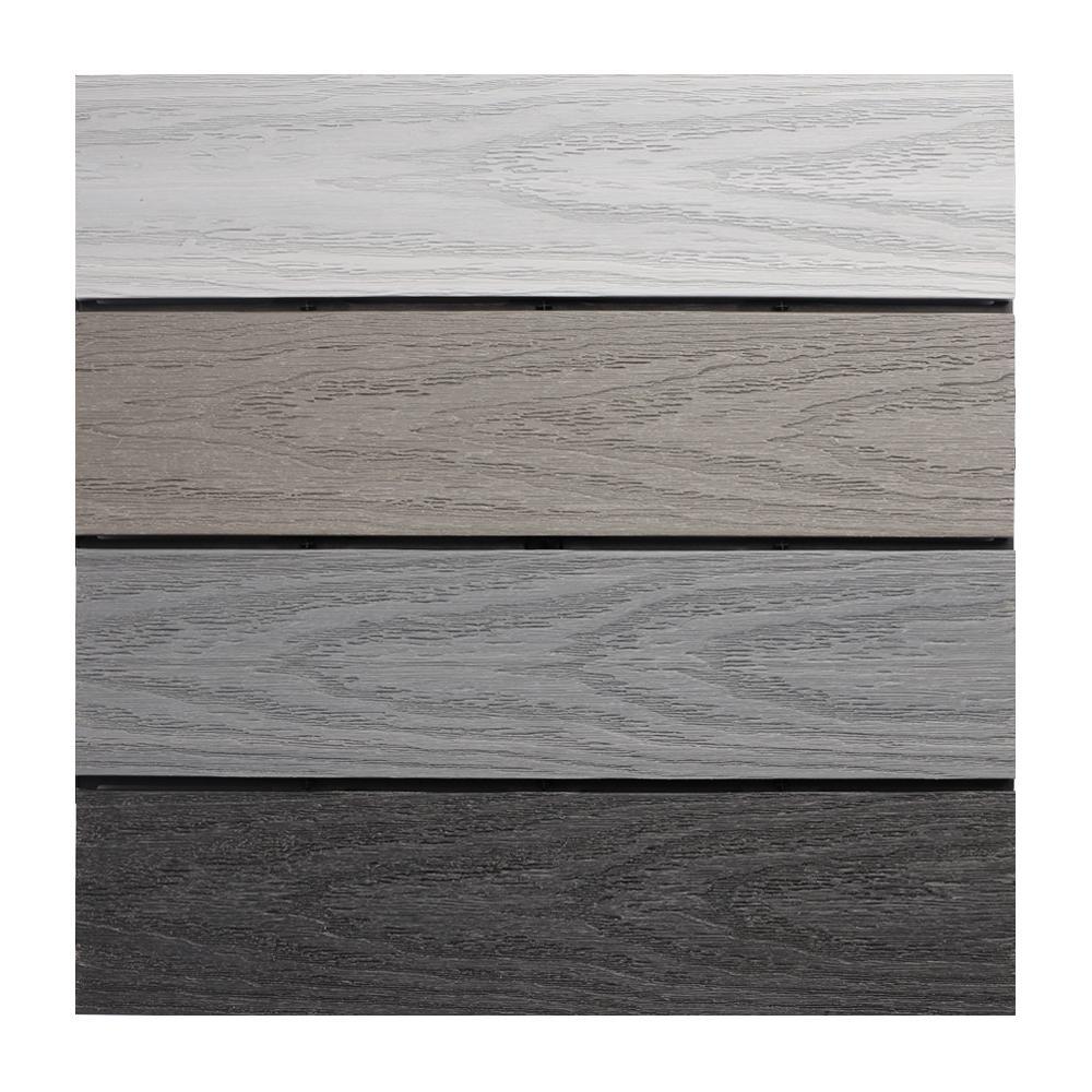 UltraShield Naturale 1 ft. x 1 ft. Composite Quick Deck Outdoor Deck Tile Sample in Multicolor