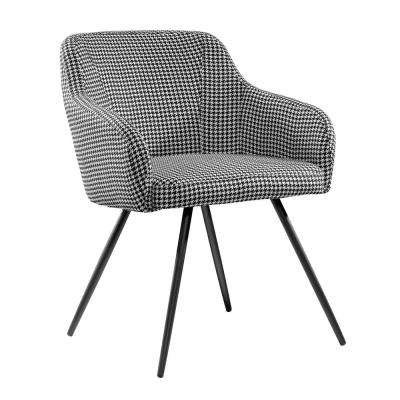 Harvey Park Black and White Houndstooth Fabric Chair