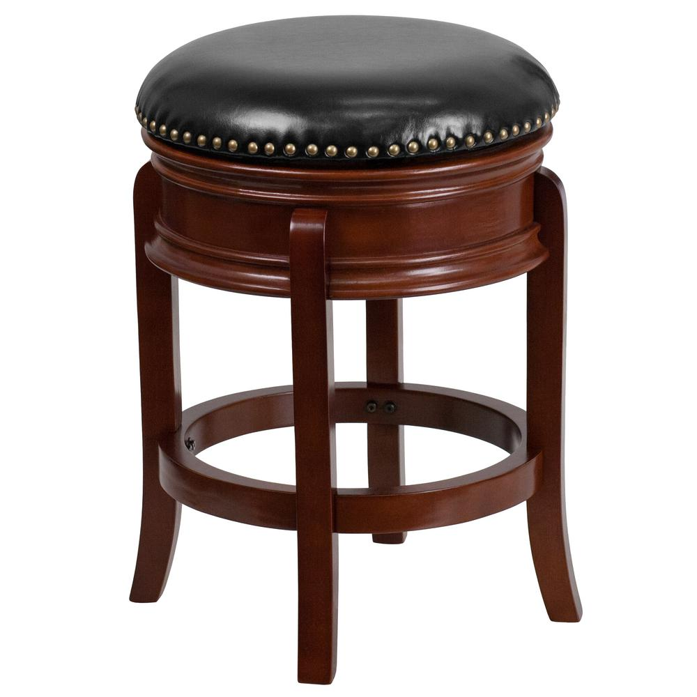 Flash Furniture 25 In Light Cherry And Black Swivel Cushioned Bar