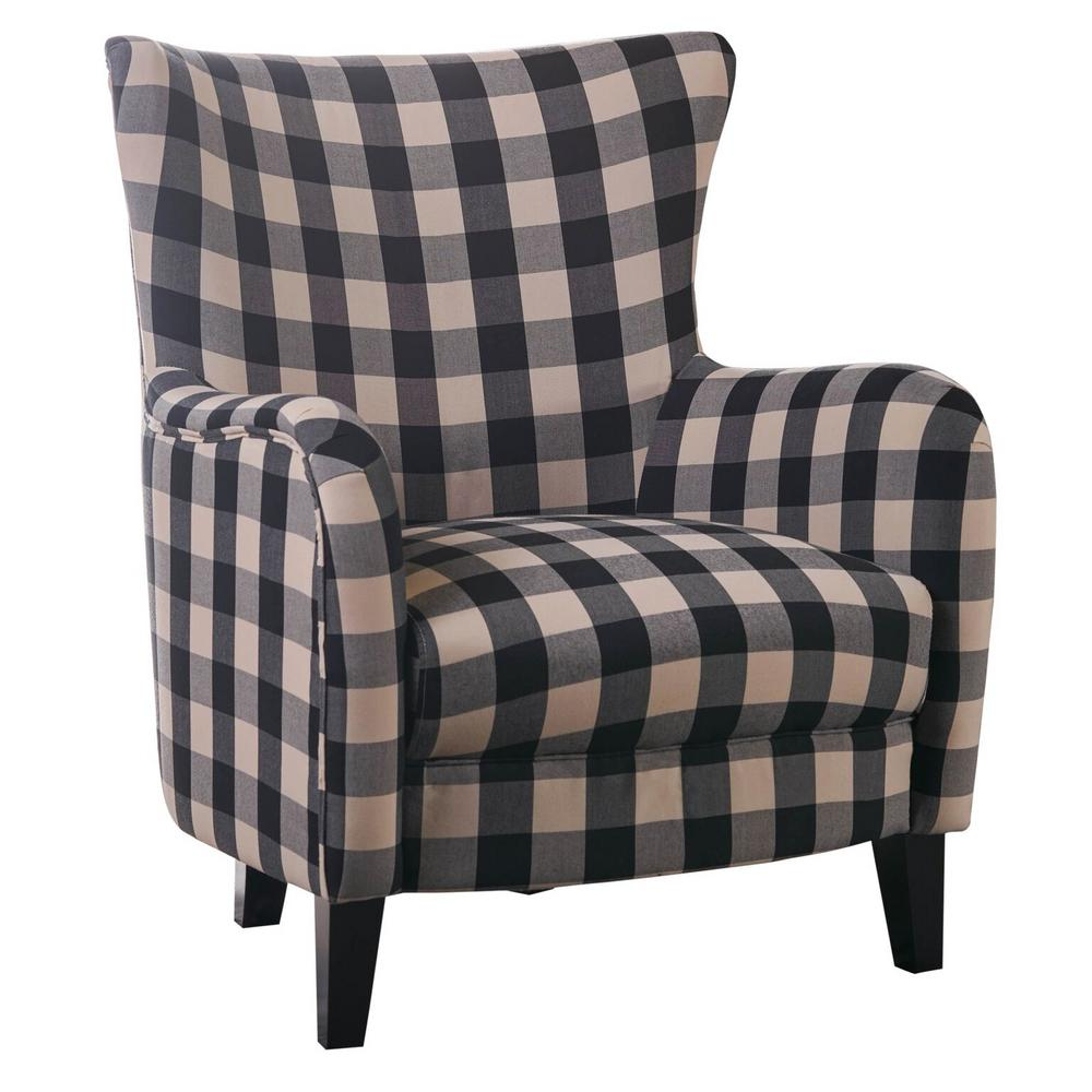 Noble House Black and White Plaid Fabric Club Chair