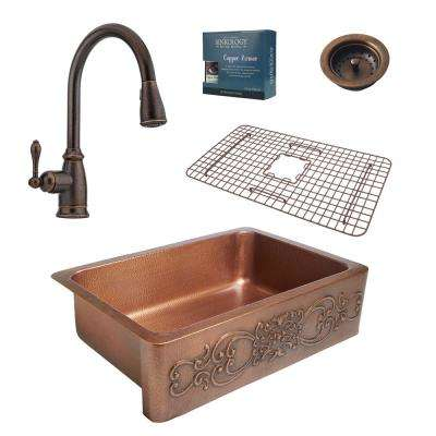 Ganku All-in-One Farmhouse Solid Copper 33 in. Single Bowl Kitchen Sink with Pfister Faucet and Strainer Drain in Bronze